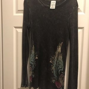 Vocal gray embellished long sleeve top xl